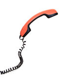 Vintage orange telephone handset Isolated Royalty Free Stock Photo
