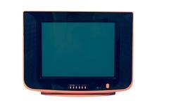 Vintage orange Television isolated on white background stock photo