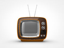 Vintage orange TV in front view. Front view of a old vintage orange television Stock Photos