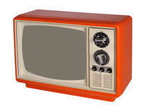 Vintage orange TV set Royalty Free Stock Image