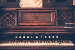 Vintage Organ. Dark Wooden Vintage Organ Instrument. Aged Organ Royalty Free Stock Photography