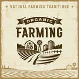 Vintage Organic Farming Label Stock Image