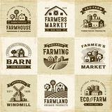 Vintage Organic Farming Labels Set stock illustration