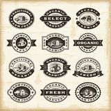 Vintage organic farming stamps set Stock Photography
