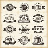Vintage organic harvest stamps set Royalty Free Stock Photo