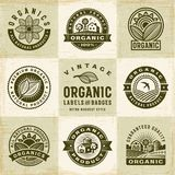 Vintage Organic Labels And Badges Set Stock Images