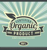 Vintage organic product poster design. Retro label for organic food.  Health food and healthy lifestyle creative artistic concept. Vintage natural product poster Royalty Free Stock Photography