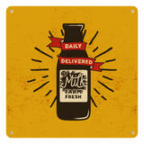 Vintage organic raw milk sign on yellow card, background. Retro classic design. Vector illustration Royalty Free Stock Photos