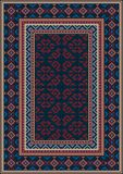 Vintage oriental carpet in dark blue with patterns of red,beige,blue and maroon colors. Luxury vintage oriental carpet in dark blue with patterns of red,beige stock illustration