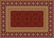 Vintage oriental carpet in maroon shades with patterns of yellow, beige and grey colors. Luxury vintage oriental carpet in maroon shades with patterns of yellow royalty free illustration
