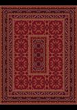 Vintage oriental carpet with ornament of burgundy and beige shades Stock Photo