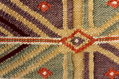Vintage,   oriental, colorful handmade traditional woolen rug 7. Eye level shot of  part of hanged, vintage,   oriental, handmade traditional woolen rug, woven Royalty Free Stock Photography