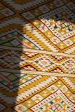 Vintage, oriental, colorful handmade traditional woolen rug royalty free stock photos