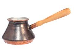 Vintage oriental copper coffee pot. Isolated on white Royalty Free Stock Photos