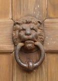 Vintage oriental knocker door of metal lion. On wood door royalty free stock photography