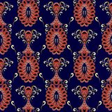 Vintage oriental paisley seamless pattern. Vector dark blue flor. Al background wallpaper with red gold beautiful paisley flowers, swirls. Luxury abstract Royalty Free Stock Image