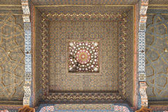 Vintage oriental patterns decorate the ceiling. Vintage oriental patterns decorate the ceiling in Bukhara Royalty Free Stock Image