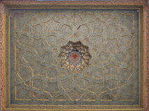 Vintage oriental patterns decorate the ceiling. Vintage oriental patterns decorate the ceiling in Bukhara Royalty Free Stock Photo