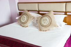 Vintage Oriental Style Double Bed Size In Bedroom. Royalty Free Stock Image