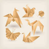 Vintage origami icons set Stock Images