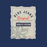 Vintage  original blue jeans raw denim label. Stock Images