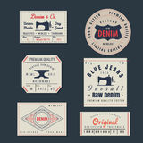 Vintage original blue jeans raw denim labels,genuine exclusive b. Rands,vector illustration Stock Images