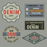 Vintage  original blue jeans raw denim labels,genuine exclusive. Brands,vector illustration Royalty Free Stock Photo