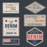 Vintage  original blue jeans raw denim labels,genuine exclusive. Brands,vector illustration Stock Photos