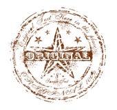 Vintage Original Brown Rubber Stamp. Damnaged Grunge and Vintage Original Rubber Stamp Brown Royalty Free Stock Photography