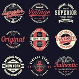 Vintage original typography set. Retro print for t-shirt design. Graphics for authentic apparel. Collection of tee shirt badge. Vector illustration Stock Image