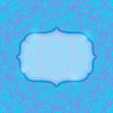 Vintage Ornament Blue Card with Label. Stock Photo