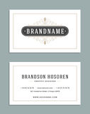 Vintage Ornament Business Card Vector Template. Retro Luxury Logo, Royal Design. Flourishes frame. stock illustration