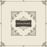 Vintage Ornament Greeting Card Vector Template. Retro Luxury Invitation, Royal Certificate. Flourishes frame. Vintage. Background, Vintage Frame, Vintage Stock Image