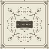 Vintage Ornament Greeting Card Vector Template. Retro Luxury Invitation, Royal Certificate. Flourishes frame. Vintage. Background, Vintage Frame, Vintage Royalty Free Stock Images