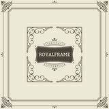 Vintage Ornament Greeting Card Vector Template. Retro Luxury Invitation, Royal Certificate. Flourishes frame. Vintage Stock Photography