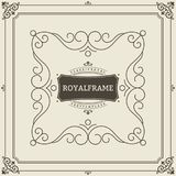 Vintage Ornament Greeting Card Vector Template. Retro Luxury Invitation, Royal Certificate. Flourishes frame. Vintage Royalty Free Stock Images