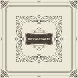 Vintage Ornament Greeting Card Vector Template. Retro Luxury Invitation, Royal Certificate. Flourishes frame. Vintage. Ornament, Ornamental Frame royalty free illustration