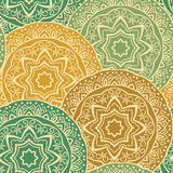 Vintage ornament of mandalas. Vector seamless pattern of mandalas. Vintage ornament of round decorative elements. Ethnic background with stylized abstract Stock Image
