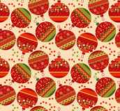 Vintage ornament patchwork xmas bubbles seamless pattern. Stock Photo