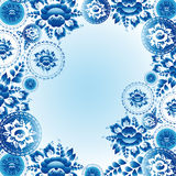 Vintage ornament pattern with blue flowers and leaves. Vector Royalty Free Stock Photography