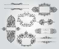 Vintage Ornament Set. A rich collection of beautiful ornaments and calligraphic items Stock Image
