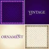 Vintage ornament set frame flower decorative Royalty Free Stock Photo