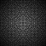 Vintage black background with swirly pattern. Vintage ornamental black background with engraved swirly pattern, filigree wrought texture royalty free illustration