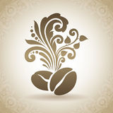 Vintage ornamental coffee beans and floral design elements. Decorative icon on a background with pattern Stock Images