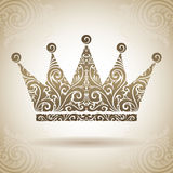 Vintage ornamental crown. Decorative icon on a background with pattern Stock Photo
