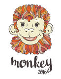 Vintage ornamental and decorative monkey. Symbol of 2016 Royalty Free Stock Photo