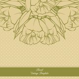 Vintage ornamental frame floral background design.Template card invitation banner with spring flowers. Sketch linear tulip flowers Stock Photography