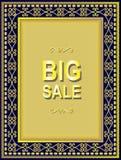 Vintage ornamental frame with gilt effect. Big sale. Retro style vector illustration