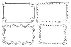 Vintage Ornamental Frames in Linear Graphic Style Stock Images
