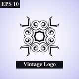Vintage ornamental islamic  emblem. Floral design element. Art deco geometric symbol. Line insignia, logotype vector illustration